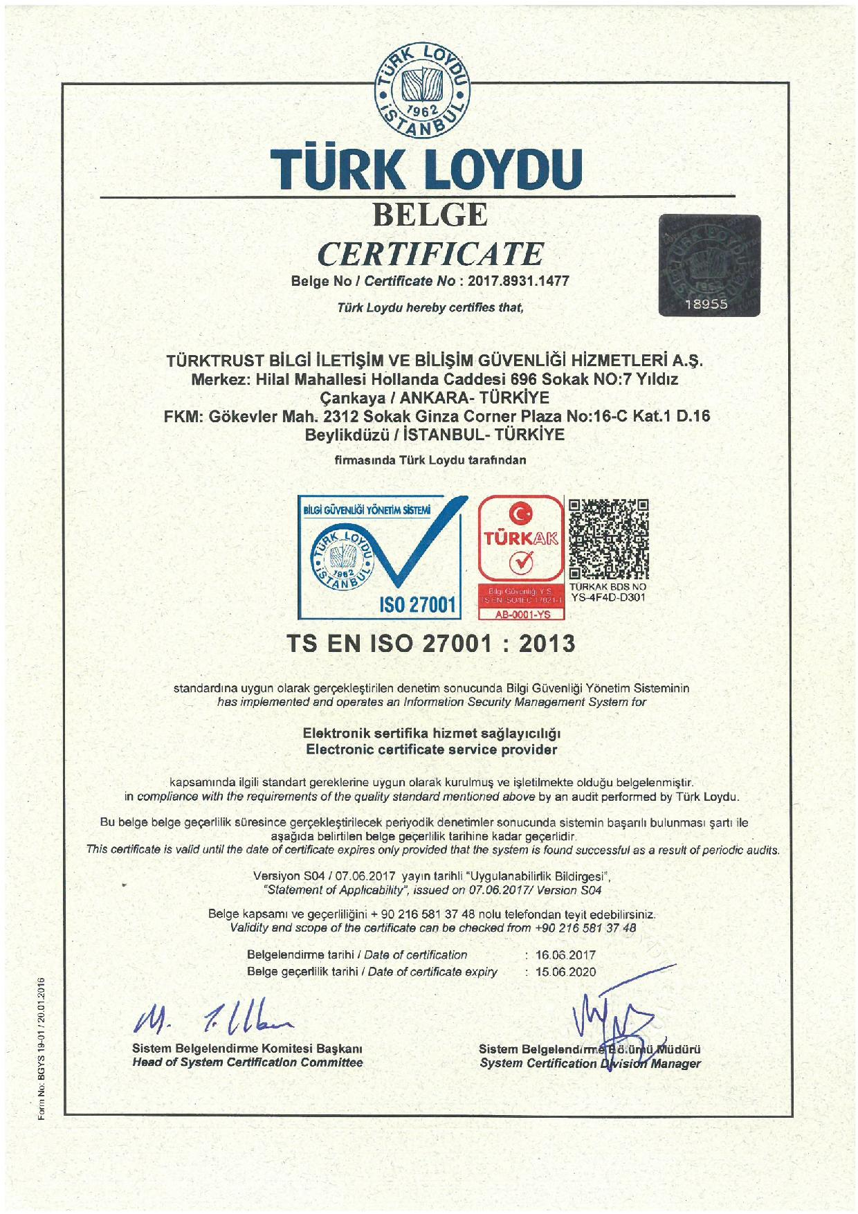 About Us Corporate Certificates